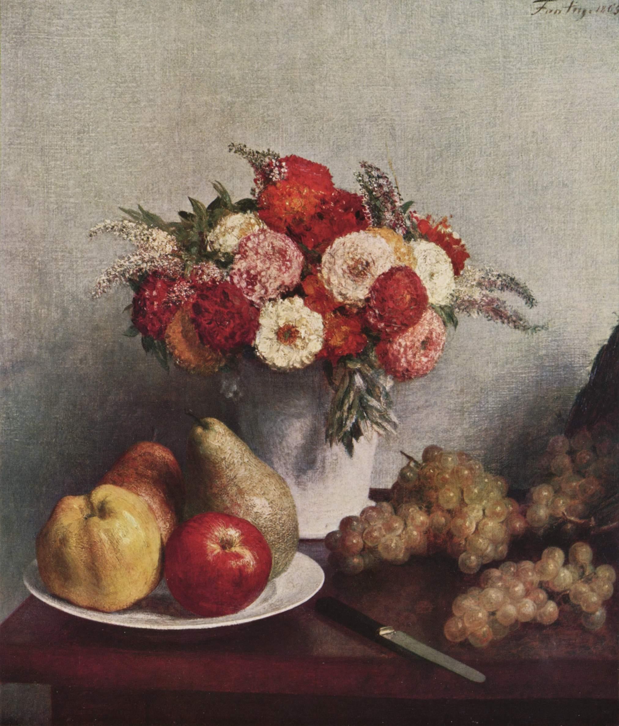 Flowers And Fruit 1865 Henri Fantin Latour