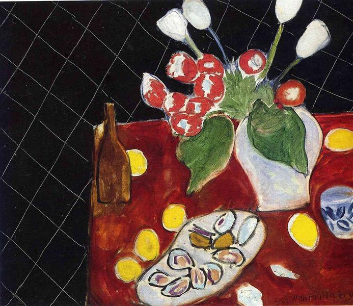 Tulips and oysters on a black background, 1943 - Henri Matisse