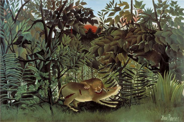 The Hungry Lion Throws Itself on the Antelope, 1905 - Henri Rousseau