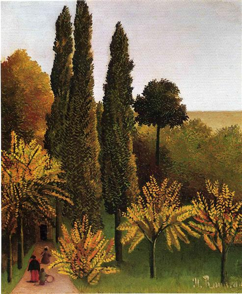 Walking in the Parc des Buttes Chaumont, 1908 - 1909 - Henri Rousseau