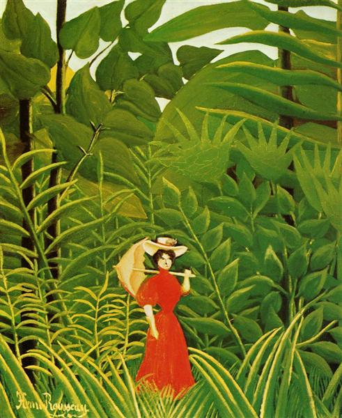 Woman in Red in the Forest, c.1907 - Henri Rousseau