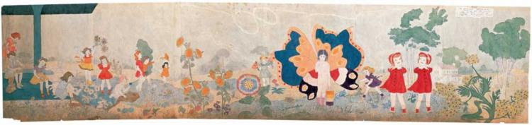 176 part two. Jennie Richee waiting for the rain to stop... - Henry Darger