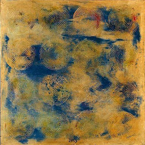 Yellow & Blue 16 Multi-Dot Circles, 1969 - Herbert Zangs