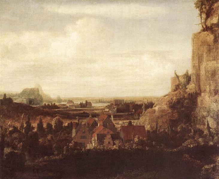 A River Valley with a Group of Houses, 1625 - Hercules Seghers
