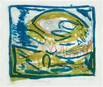 'Koh Chang 1.' - lithography fine print art, 1997; graphic artist Hilly van Eerten - Hilly van Eerten