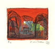 'Three tombstones in red', 7/12 -  lithography fine print art; 1999; graphic artist Hilly van Eerten - Hilly van Eerten