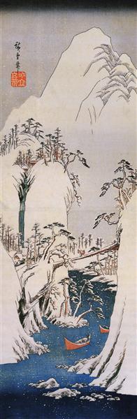 A snowy gorge - Hiroshige