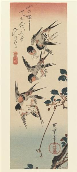 Four Swallows, 1832 - Hiroshige