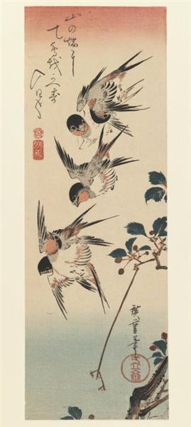 Four Swallows, 1832 - Утаґава Хіросіґе