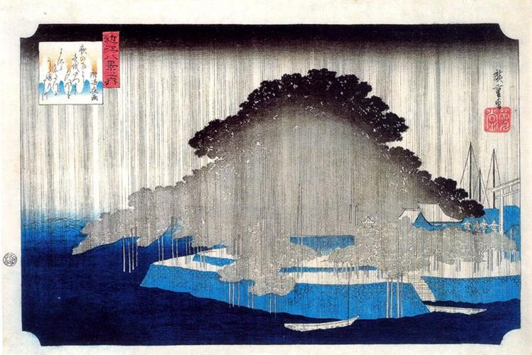 Night Rain on Karasaki - Hiroshige