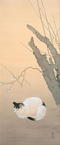 Cat and Plum Blossoms, 1906 - Hishida Shunso