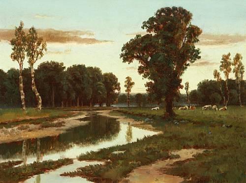 Grazing cattle near the river - Homer Watson