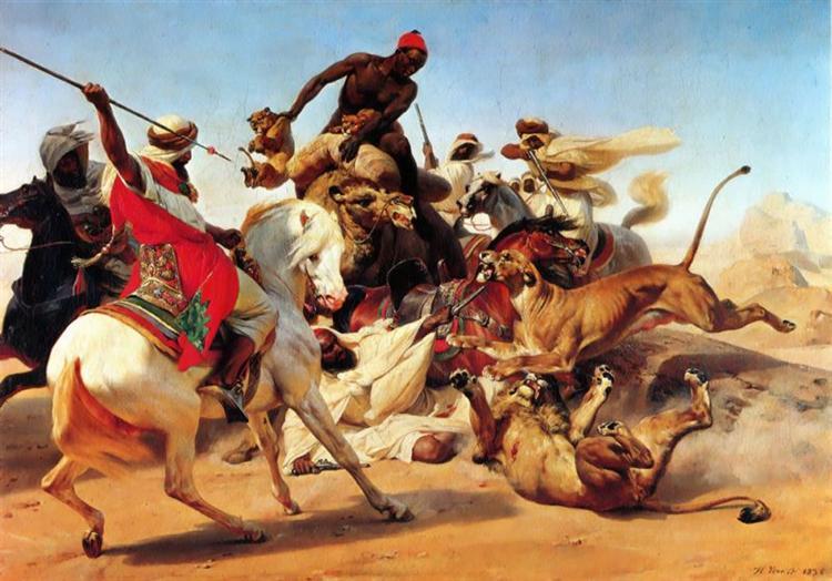 The Lion Hunt, 1836 - Horace Vernet