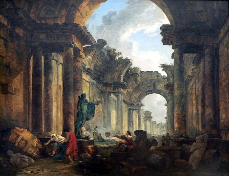 Imaginary View of the Grand Gallery of the Louvre in Ruins, 1796 - Hubert Robert