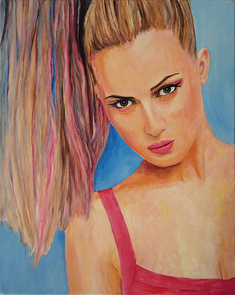 Coupe Soleil - oil painting of a fashion model - Hubertine Heijermans