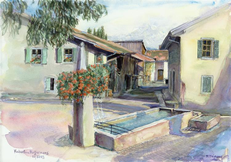 Fountain in the village of Saint-Triphon, canton Vaud, Switzerland - watercolor painting art - Hubertine Heijermans
