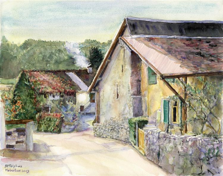 Old farmhouse in the Swiss village of Saint-Triphon, watercolor painting art from Switzerland - Hubertine Heijermans
