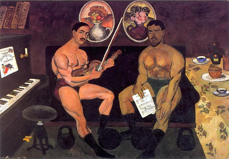 Self-portrait and a portrait of Pyotr Konchalovsky, 1910 - Ilia Mashkov
