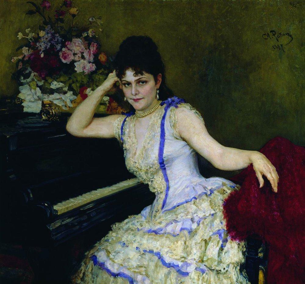 Portrait of pianist and professor of Saint Petersburg Conservatory Sophie Menter, 1887