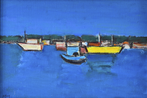 Marina with Yellow Boat - Ion Pacea