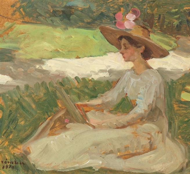 Reading in the Garden, 1910 - Ipolit Strambu