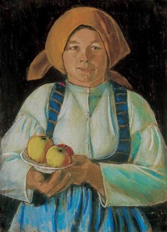 Young wife keeping apples, 1934 - Istvan Nagy