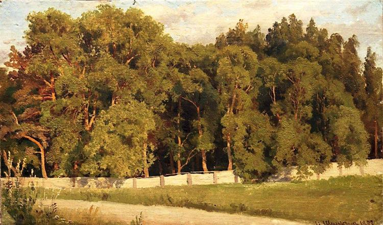 Woods behind the fence, 1898 - Iván Shishkin