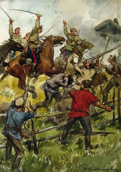The revolt of the peasants on the estate of Prince Shahovskoy - Ivan Vladimirov