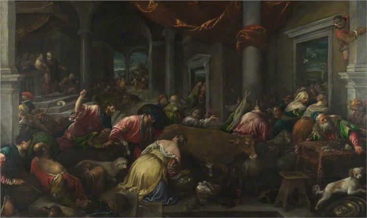 The Purification of the Temple, 1580 - Jacopo Bassano