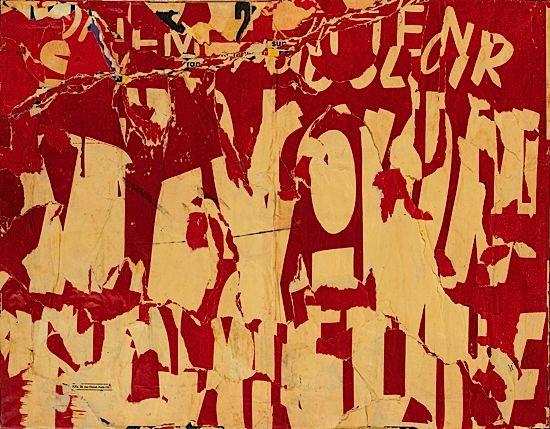 Les Ternes (Lettres Jaune sur Fond Rouge), 1957 - Jacques Villeglé