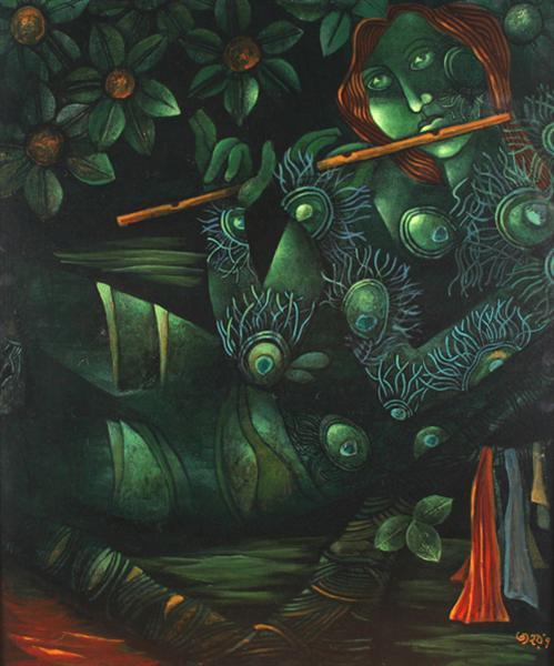 Untitled (acrylic on canvas) - Jahar Dasgupta