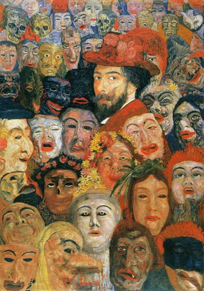 Self-Portrait with Masks, 1899 - James Ensor