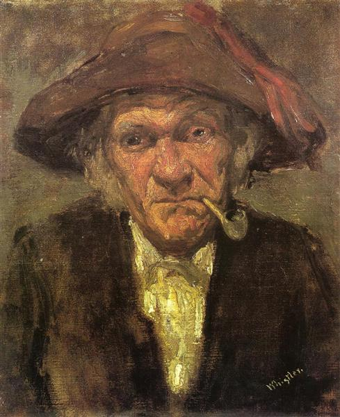 Man smoking a pipe, c.1859 - James McNeill Whistler