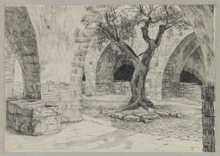 Out-building of the Armenian Convent, Jerusalem, illustration from 'The Life of Our Lord Jesus Christ' - James Tissot