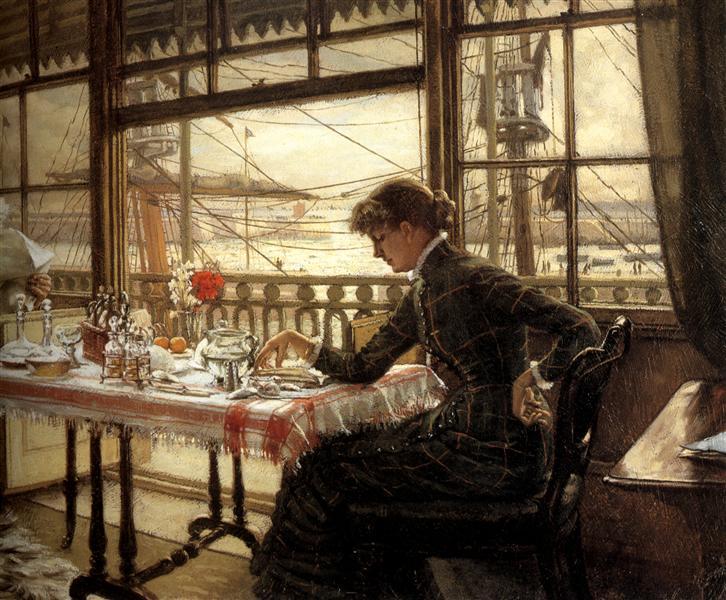 Room Overlooking the Harbour, c.1876 - c.1878 - James Tissot