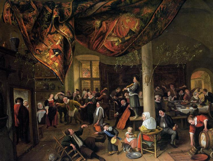 A Village Wedding Feast with Revellers and a dancing Party - Jan Steen