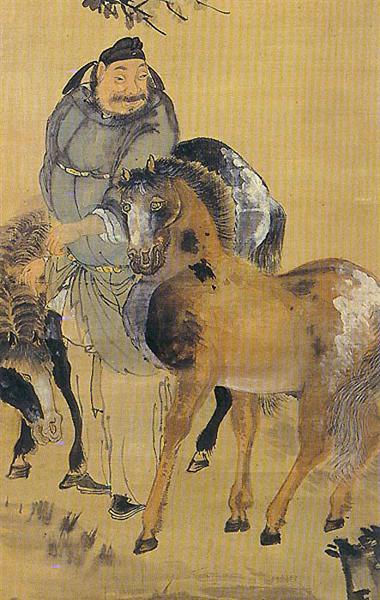 La pintura de un hombre con dos caballos (detalle?) - Owon