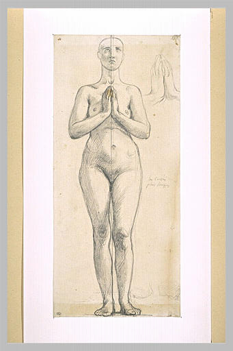 Nude woman standing, front view, hands clasped in front of the chest, 1844 - Jean Auguste Dominique Ingres