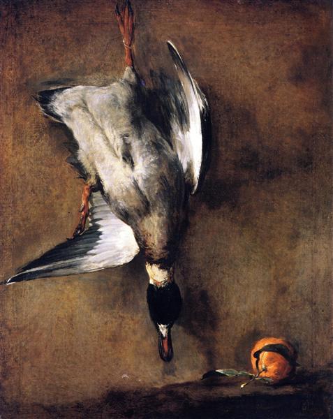 A Green Neck Duck with a Seville Orange, 1728 - 1730 - Jean-Baptiste-Simeon Chardin