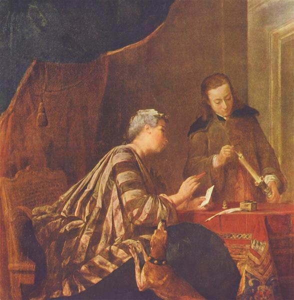 Lady Sealing a Letter, c.1732 - Jean-Baptiste-Simeon Chardin