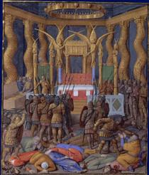 Desecration of the Temple of Jerusalem in 63 BC by Pompey and his soldiers - Jean Fouquet