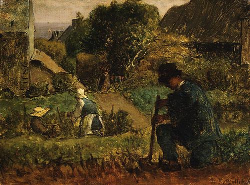Garden Scene - Jean-Francois Millet
