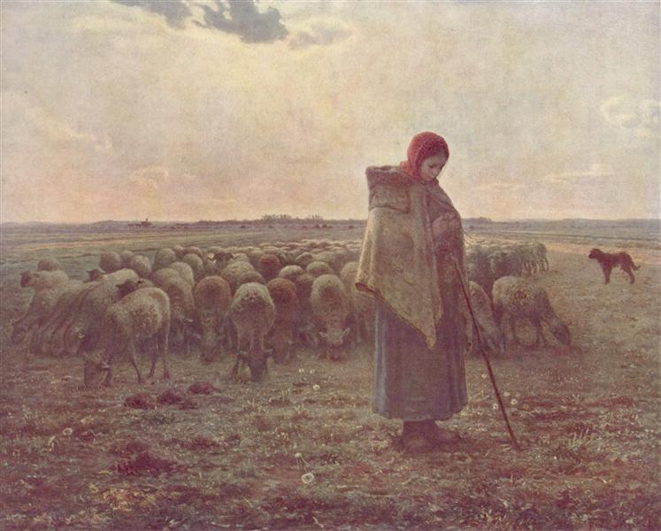 Shepherdess with her Flock, c.1863 - Jean-Francois Millet