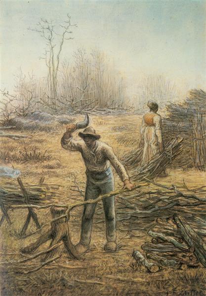 Lumberjack preparing firewood - Jean-Francois Millet