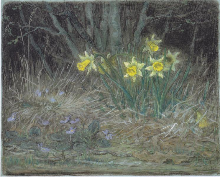 Narcissi and Violets, c.1867 - Jean-Francois Millet