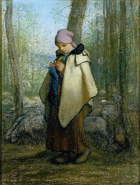 The Knitting Shepherdess, c.1856 - 1857 - Jean-Francois Millet