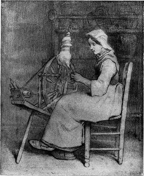 The spinner - Jean-Francois Millet