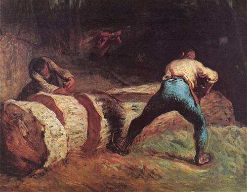 The Wood Sawyers - Jean-Francois Millet