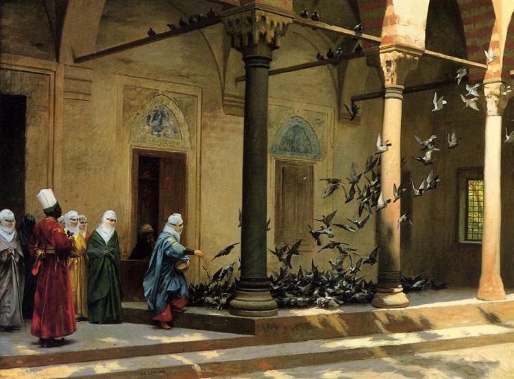 Harem Women Feeding Pigeons in a Courtyard - Jean-Leon Gerome