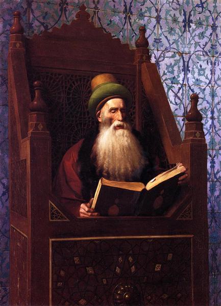 Mufti Reading in His Prayer Stool, c.1900 - Жан-Леон Жером